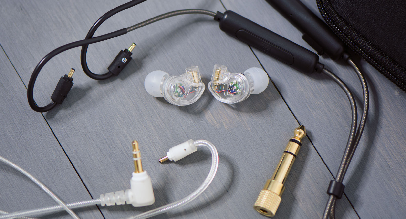 Wired + Wireless In Ear Monitors Combo Pack with Bluetooth cable, earpieces, stereo audio cable, and 1/4