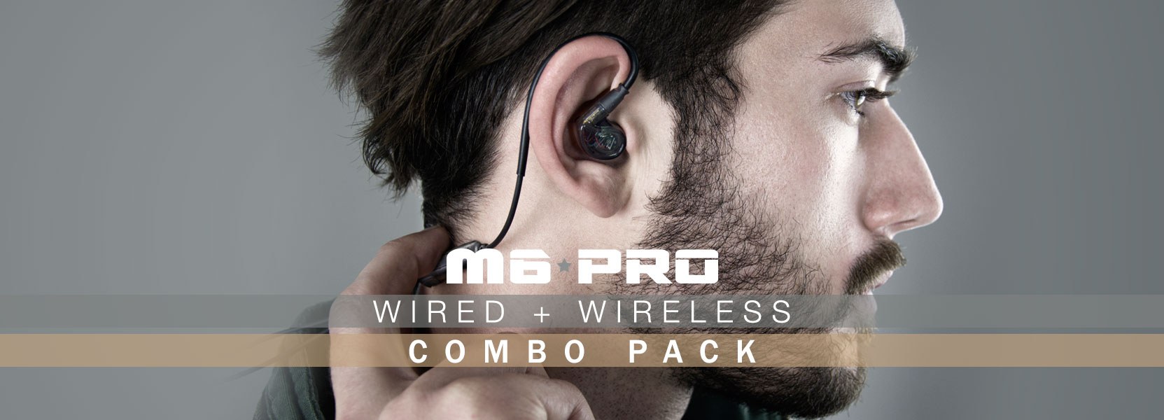 Built-in microphone and remote of the M6 PRO wired + wireless in ear monitors combo pack's Bluetooth audio adapter