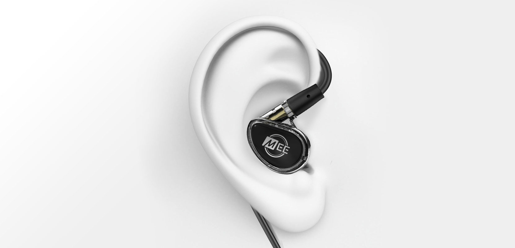 Ear with smoke-colored MX PRO IEM headphones