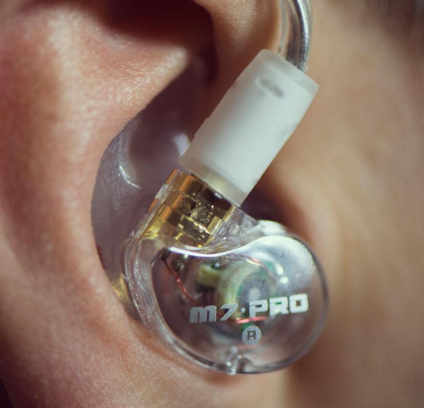 Ear wearing M7 PRO custom in ear monitors